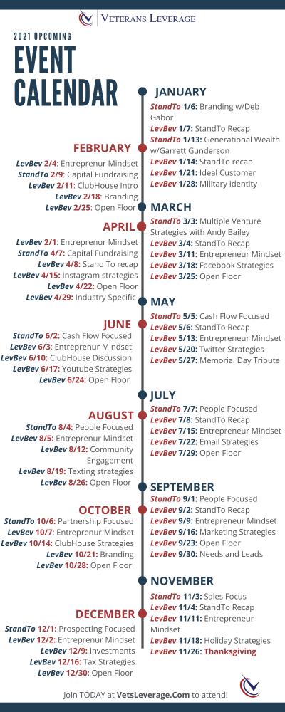 VetsLeverage upcoming events calendar For Website